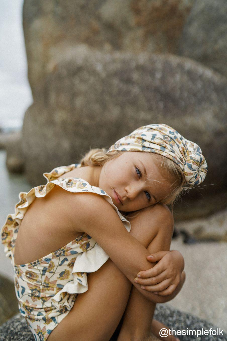 boheme chic vintage bonnet de bain fille sylvania cream flowers