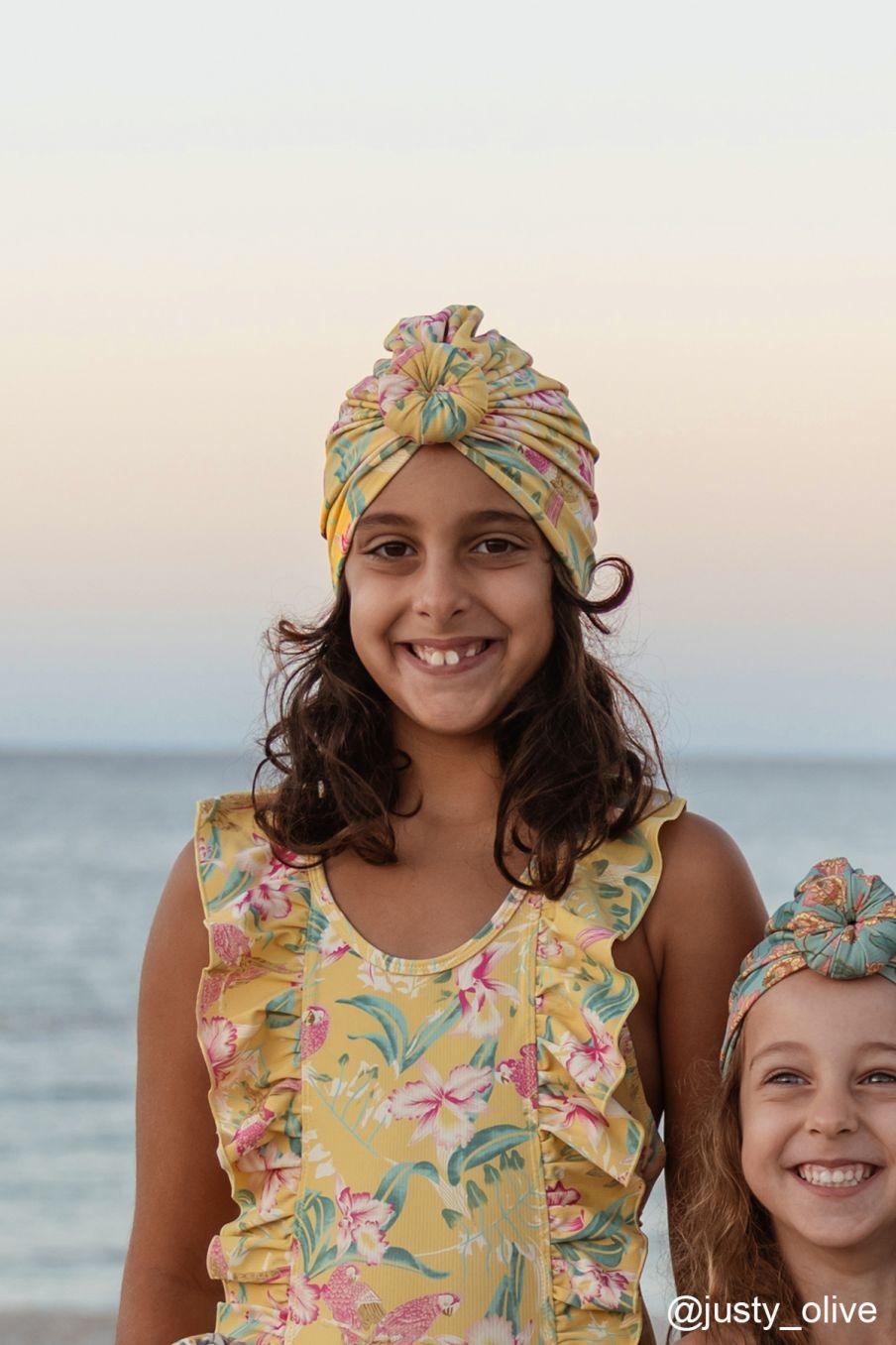 boheme chic vintage bonnet de bain fille sylvania soft honey parrots