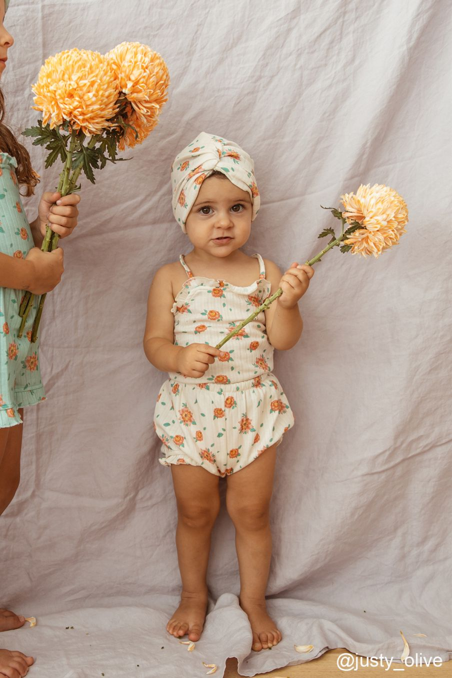 boheme chic vintage débardeur bébé fille alasha off-white flowers