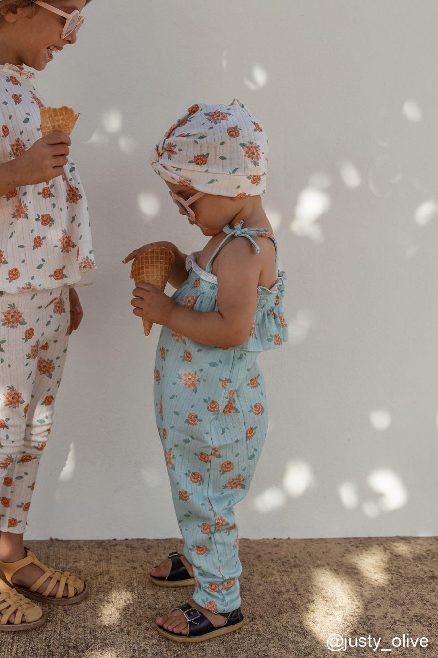 boheme chic vintage combinaison bébé fille abha vintage blue flowers