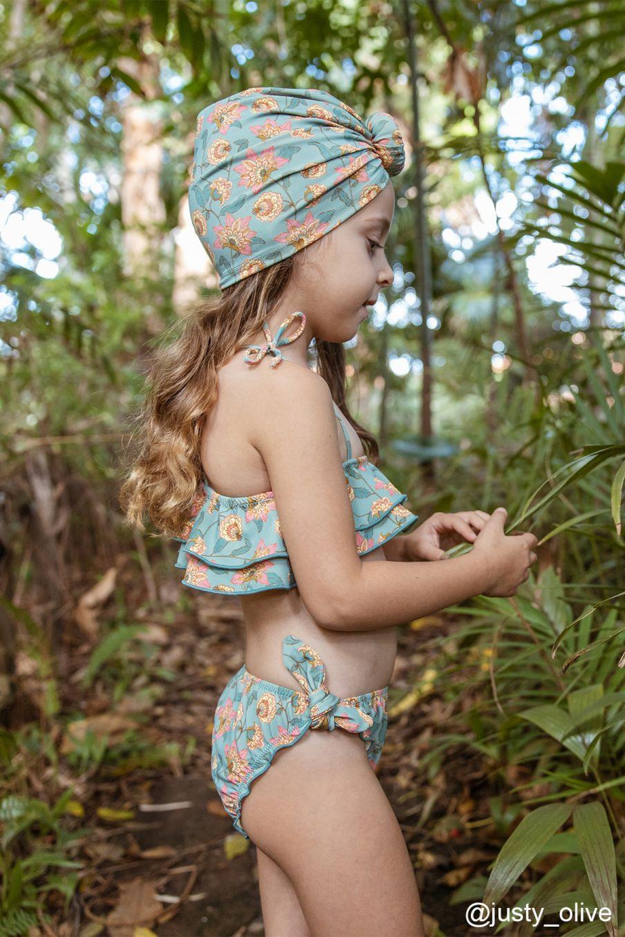 boheme chic vintage bikini fille zacata turquoise flowers