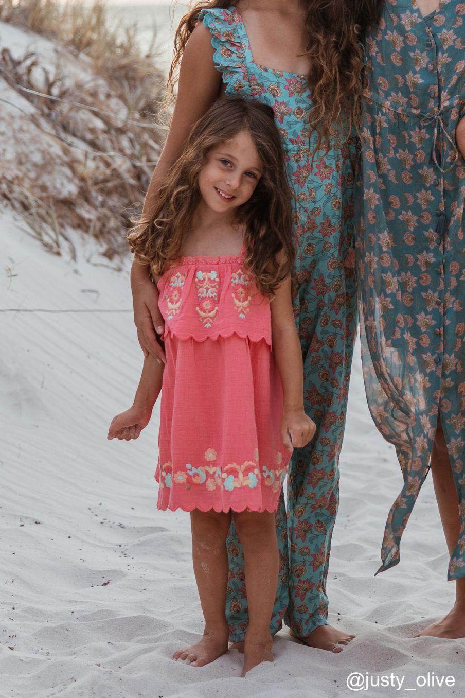 boheme chic vintage robe bébé fille solane framboise