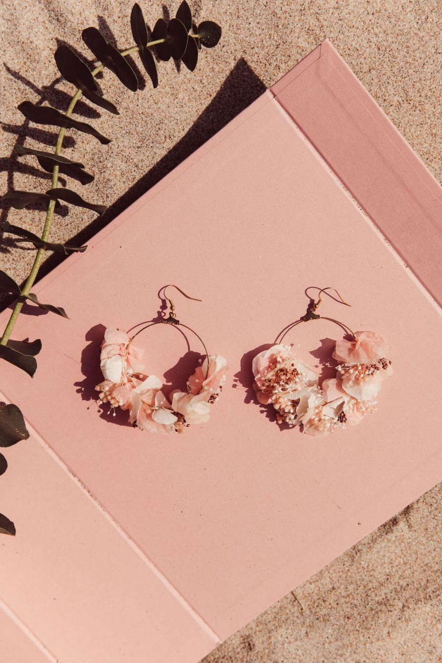 boheme chic vintage boucles d'oreille femme clementine rose