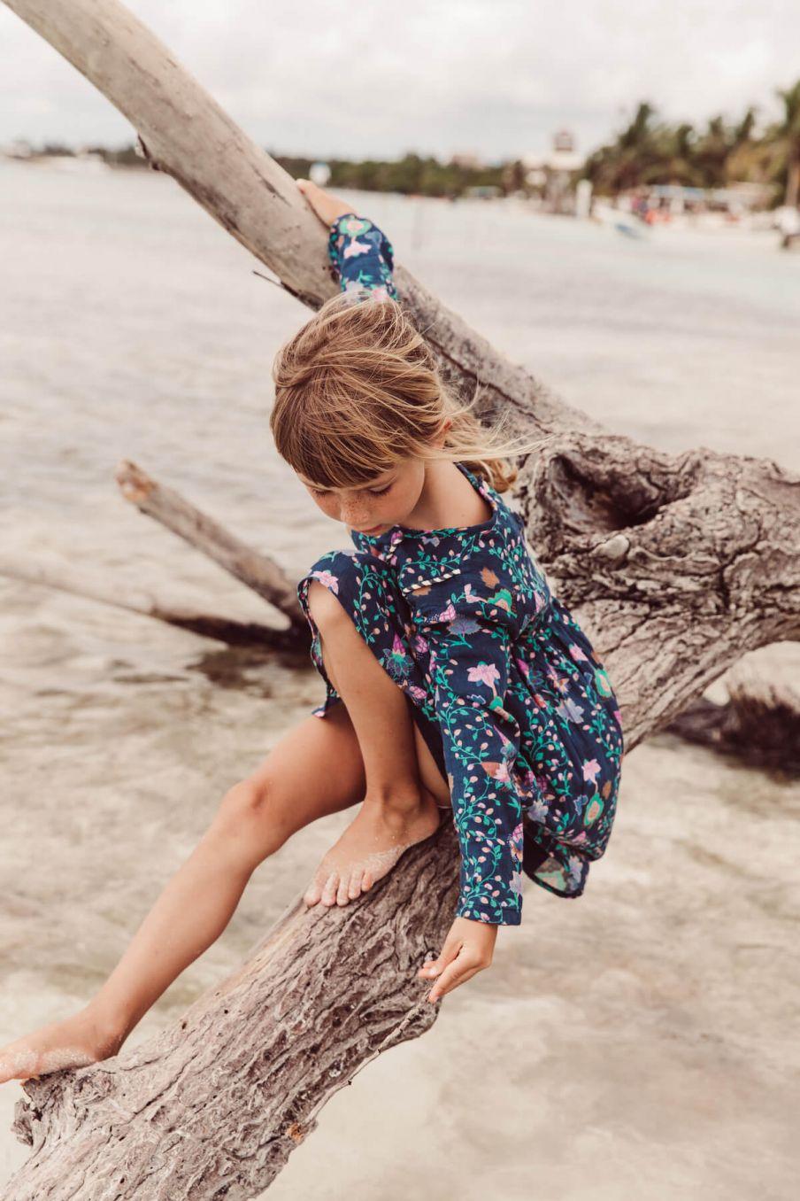 boheme chic vintage robe fille merida blue pine cone