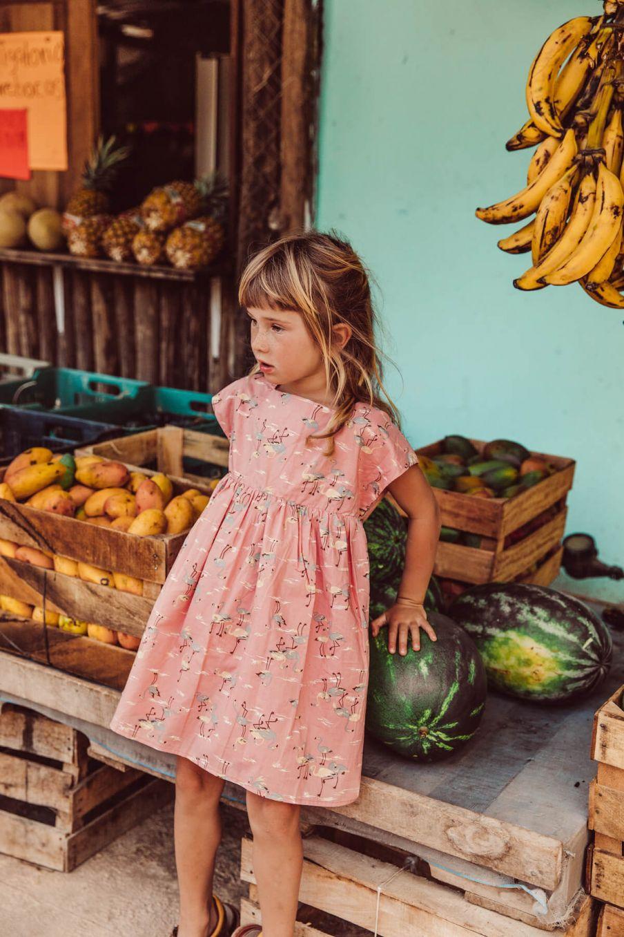 boheme chic vintage robe bébé fille tapalpa flamingo
