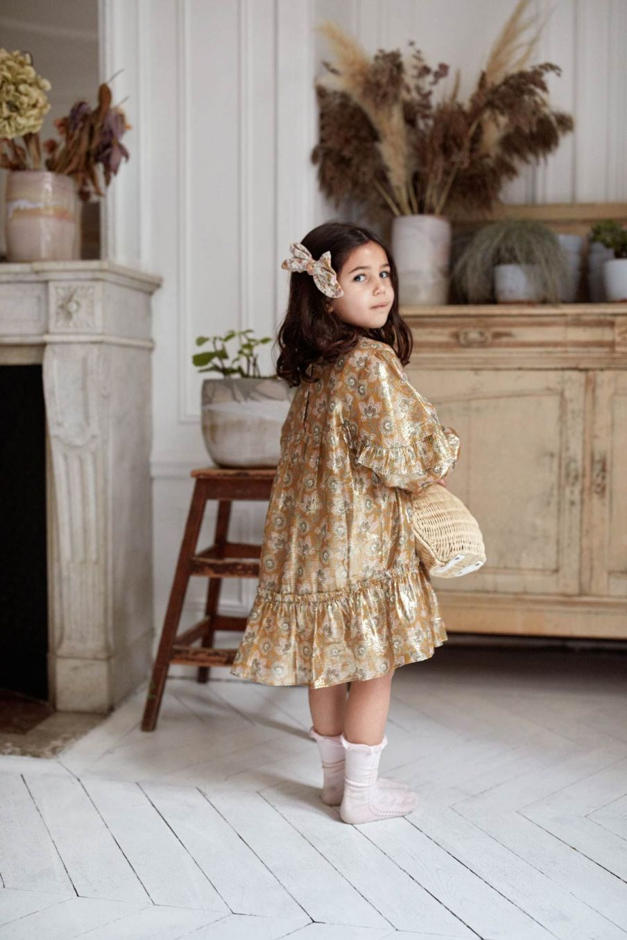 robe bebe fille agatha saffron lurex flowers - louise misha