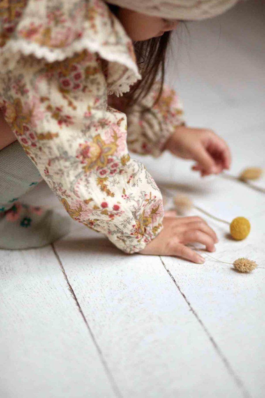 blouse bebe fille celia cream french flowers - louise misha