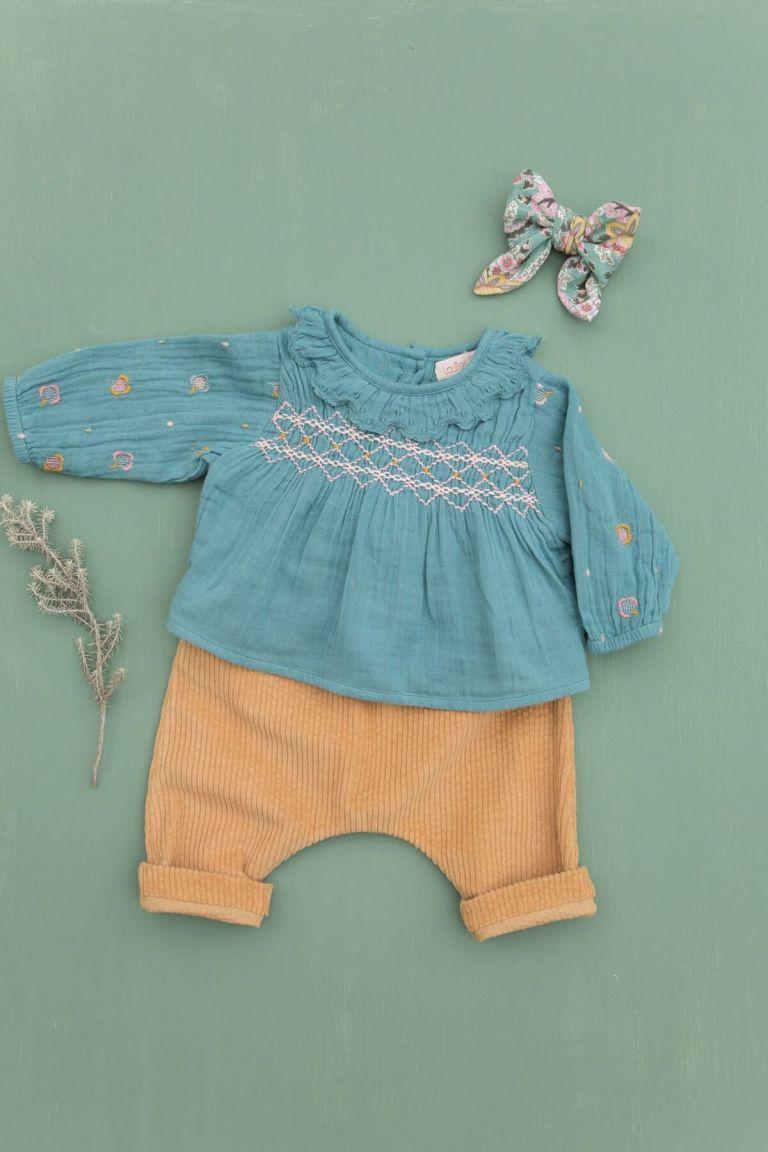 pantalon bebe fille flor camel - louise misha