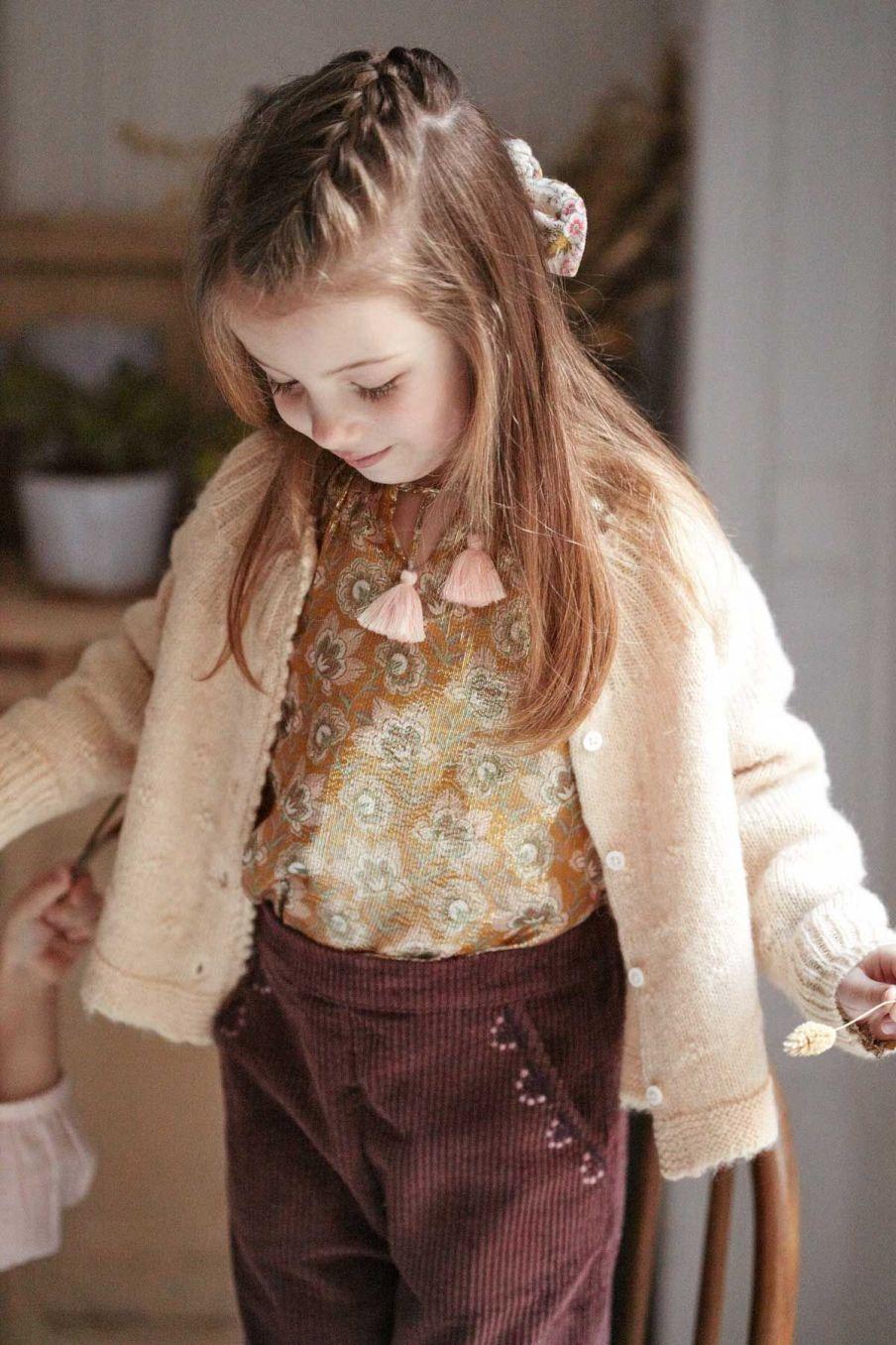 pantalon bebe fille flor aubergine - louise misha