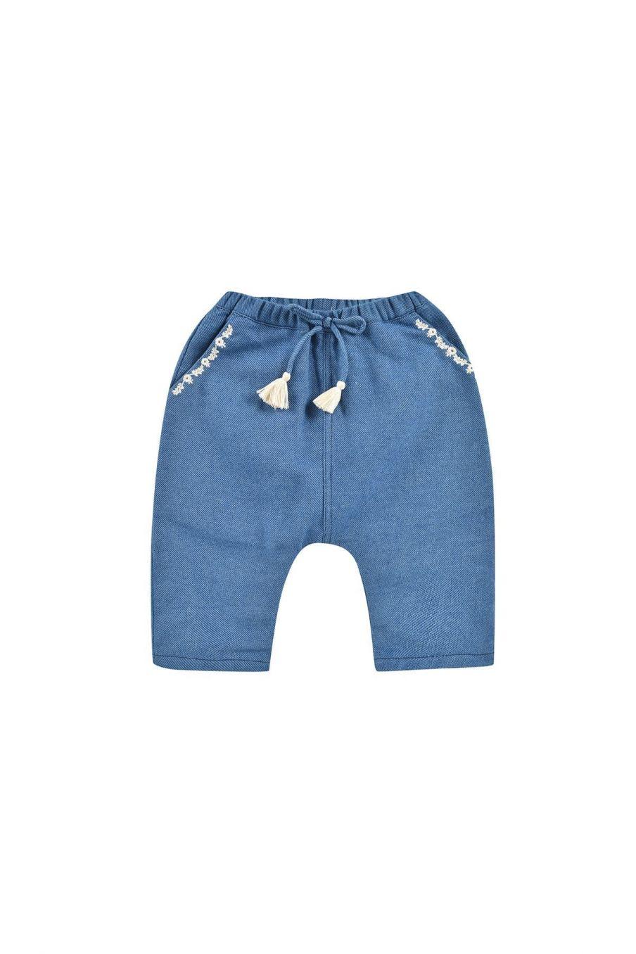 pantalon bebe fille flor blue denim - louise misha