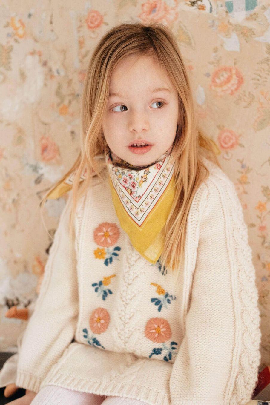 echarpe fille capucine cream french flowers - louise misha