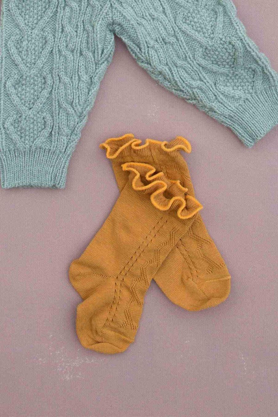chaussettes bebe fille chilou mustard - louise misha