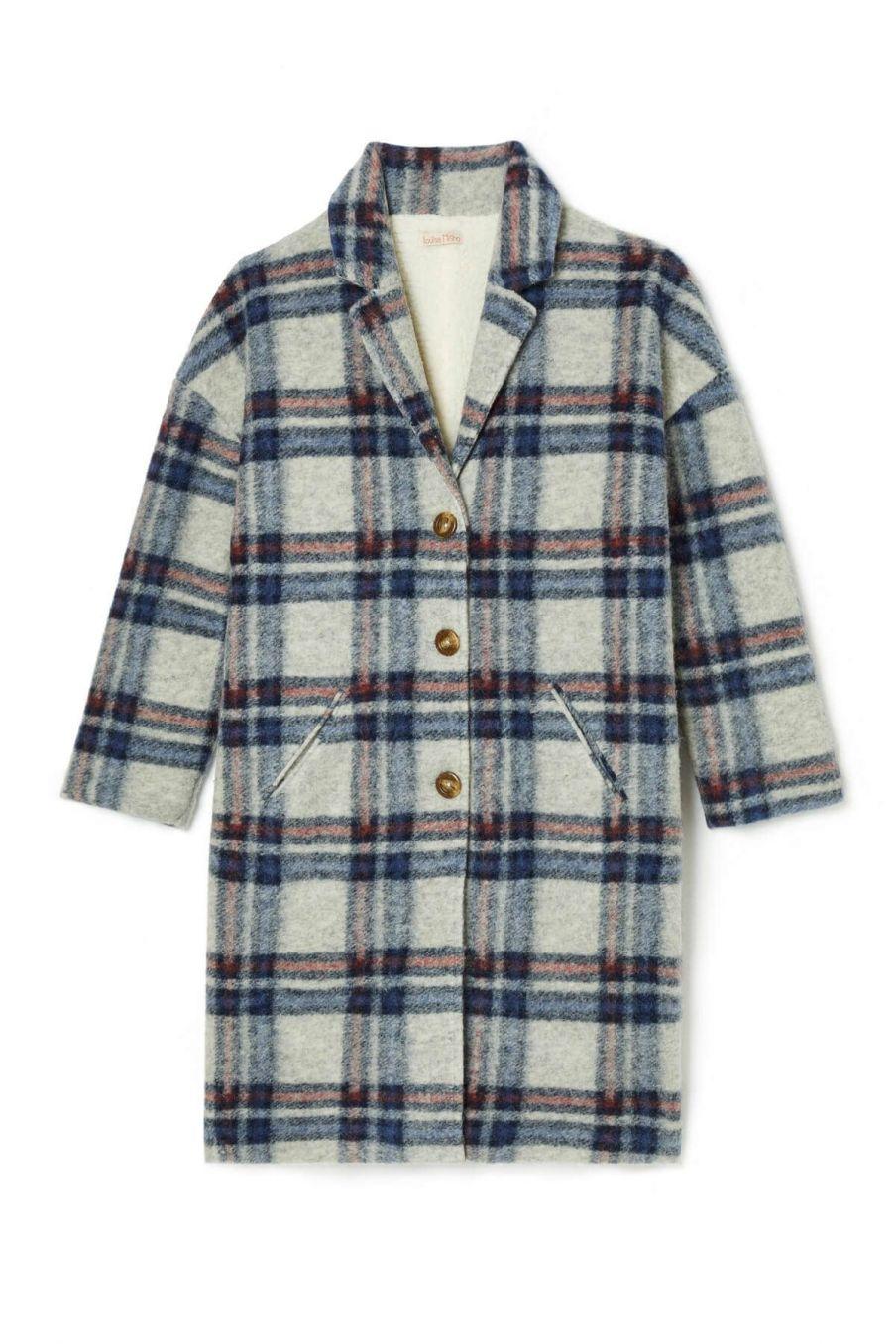 manteau femme morland cream & storm check - louise misha