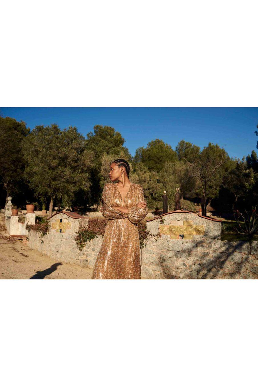 robe femme steriane saffron lurex flowers - louise misha
