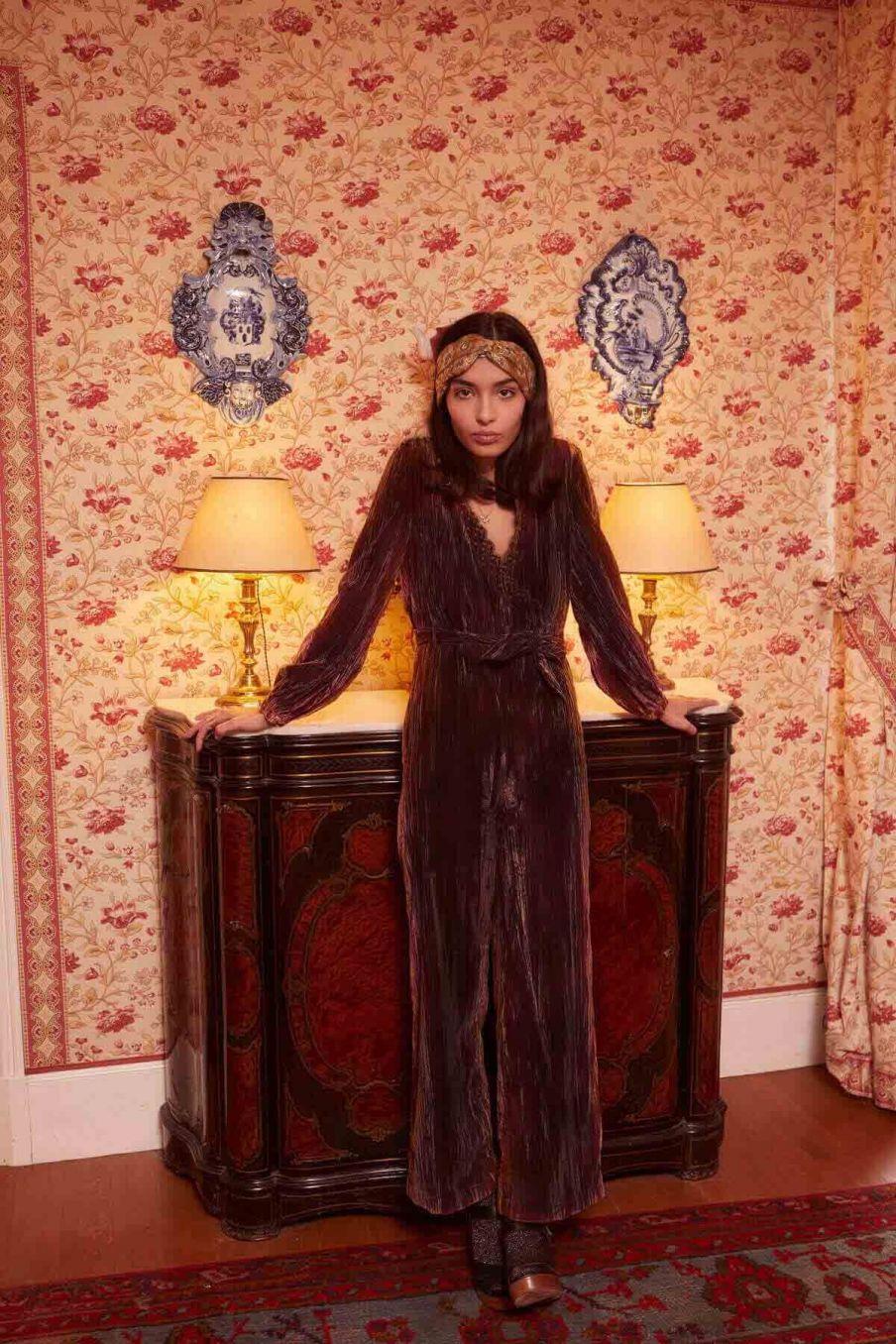 combinaison femme tizalia velvet brown - louise misha