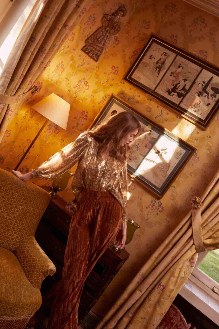 blouse femme lorie saffron lurex flowers - louise misha