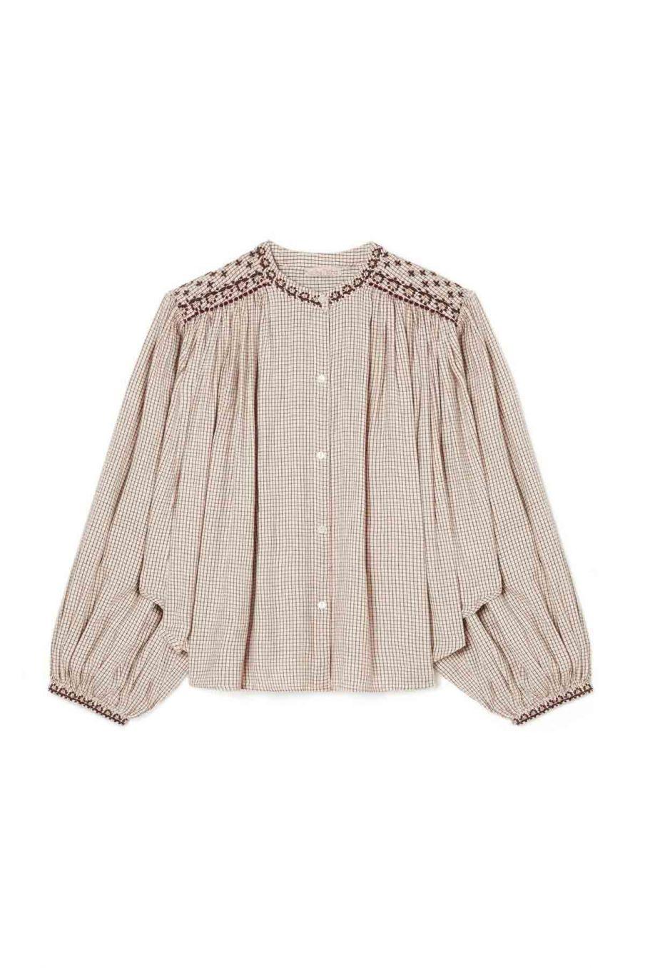 blouse femme jeanne cream check - louise misha
