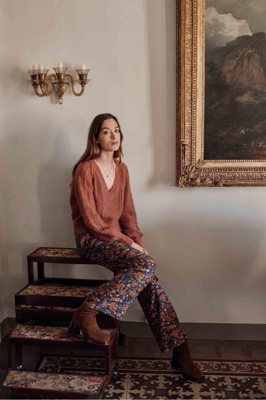 pantalon femme lalie charcoal bohemian flowers - louise misha