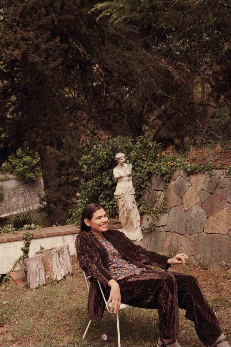 pantalon femme olivia velvet brown - louise misha