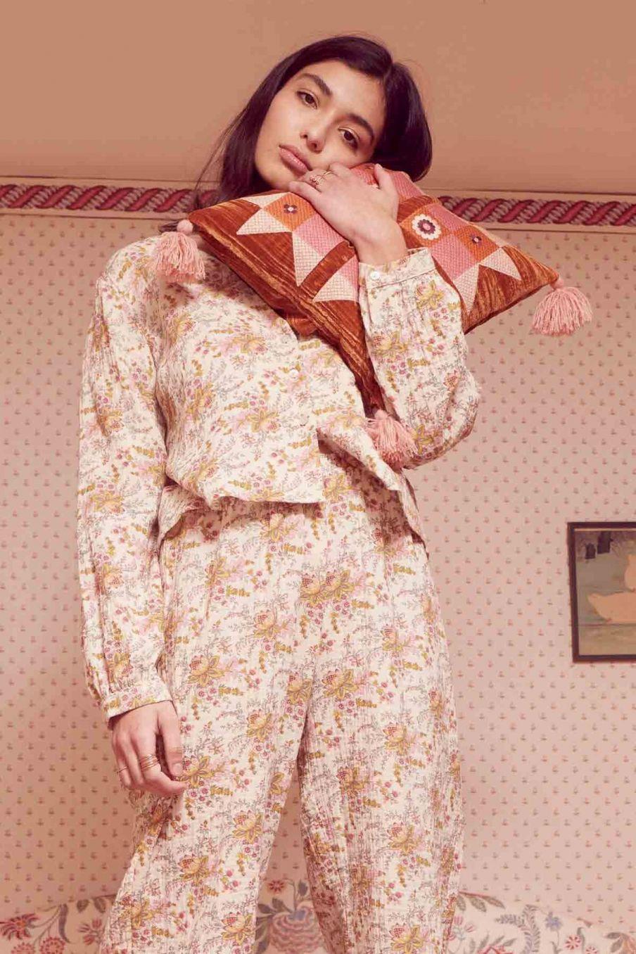 blouse de pyjama femme louanne cream french flowers - louise misha