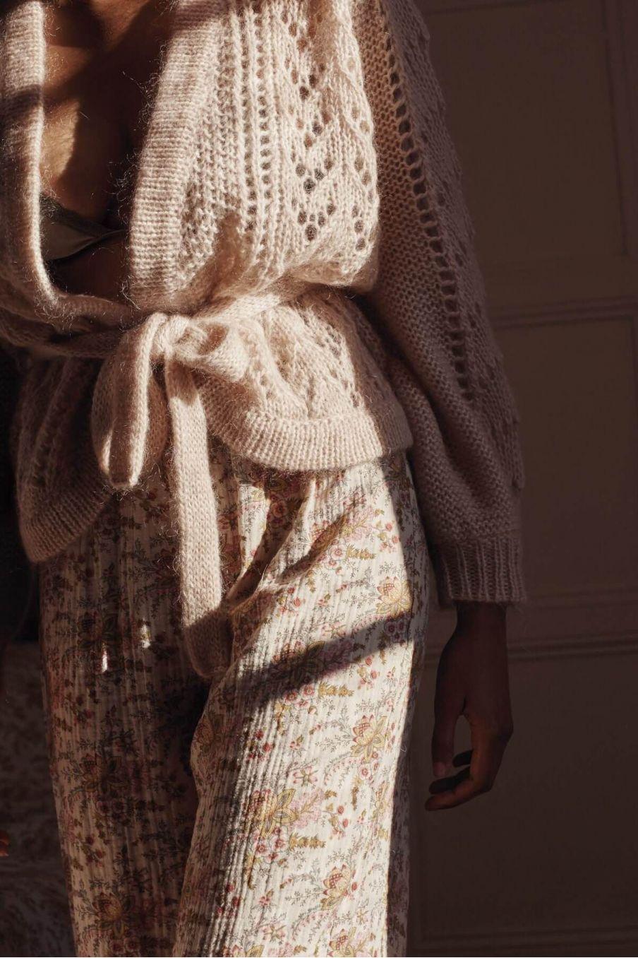 bas de pyjama femme melycia cream french flowers - louise misha