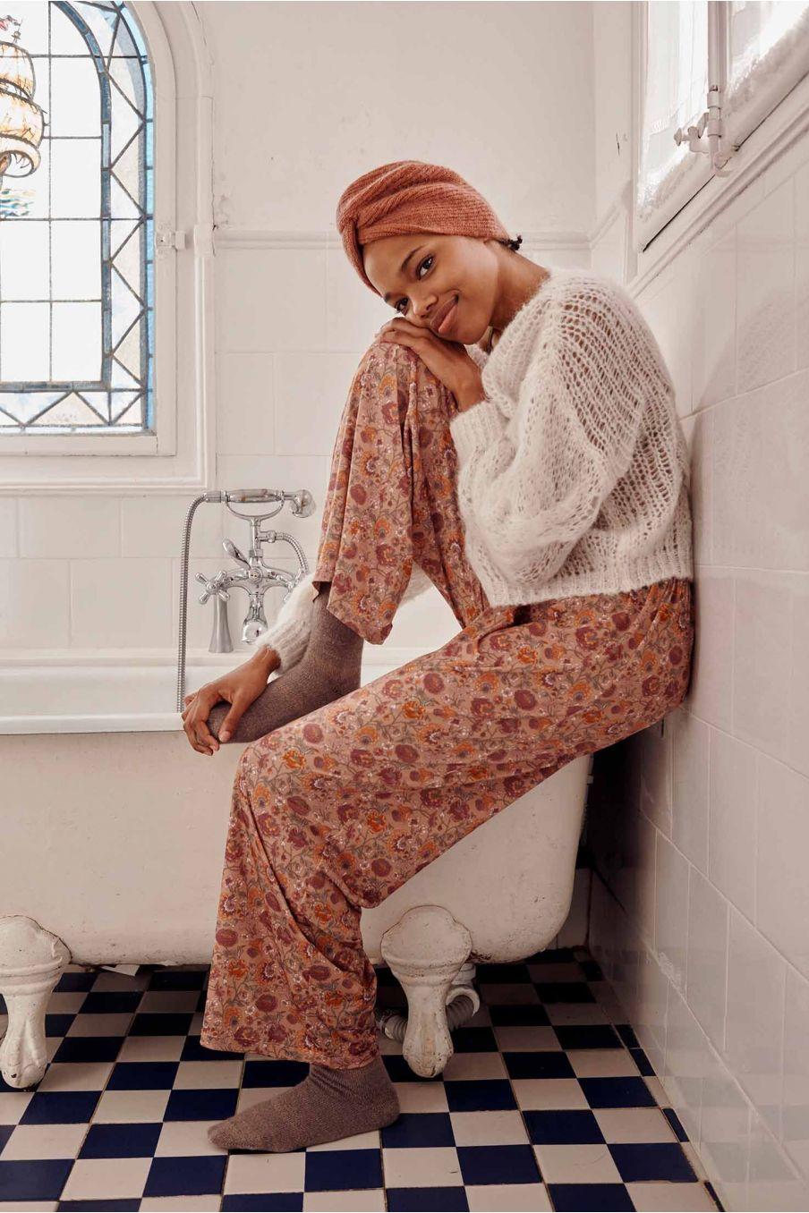 bas de pyjama femme melycia sand bohemian flowers - louise misha