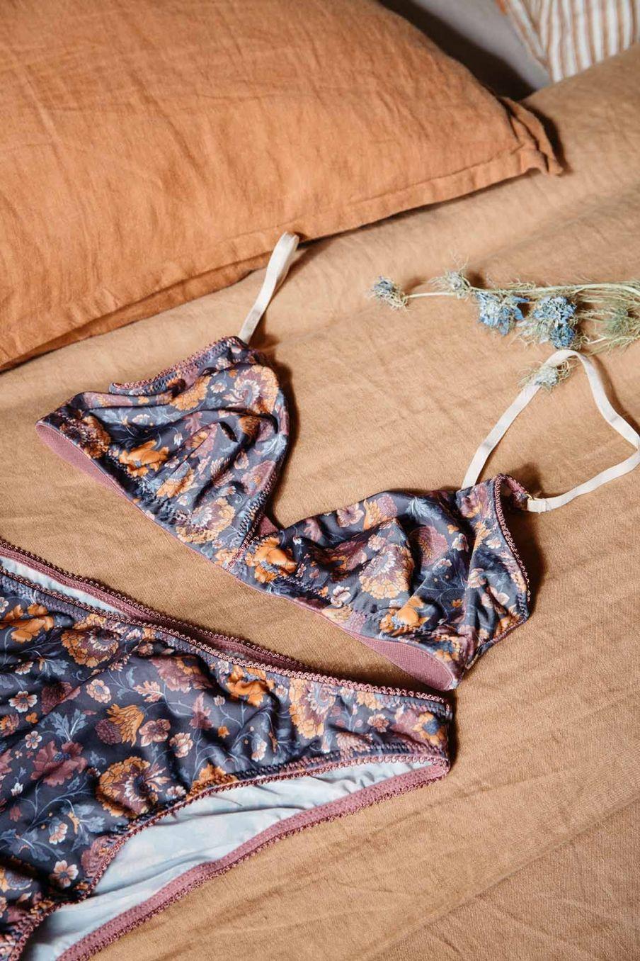 soutien-gorge femme shosha charcoal bohemian flowers - louise misha