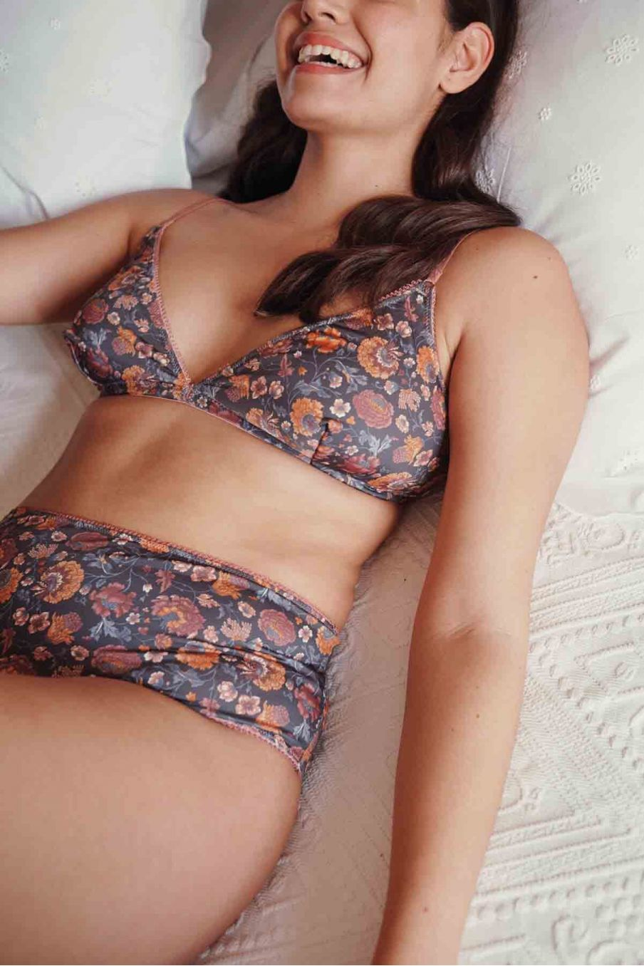 culotte taille haute femme rina charcoal bohemian flowers - louise misha