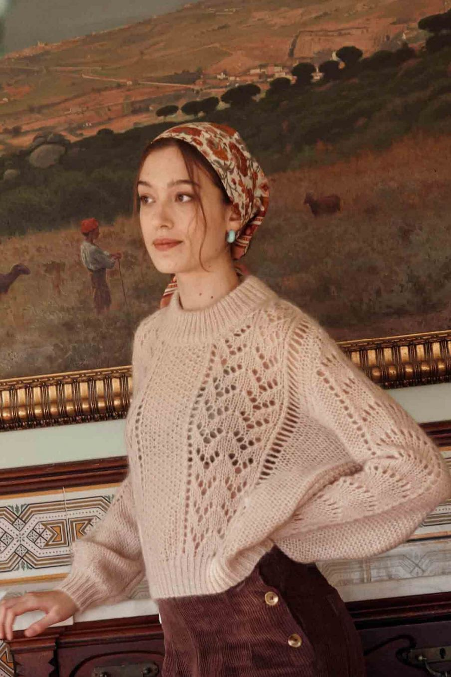 echarpe femme romy cream bohemian flowers - louise misha