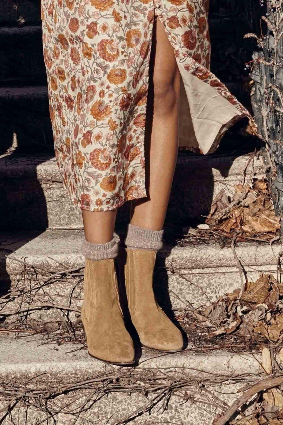 chaussettes femme piria taupe - louise misha