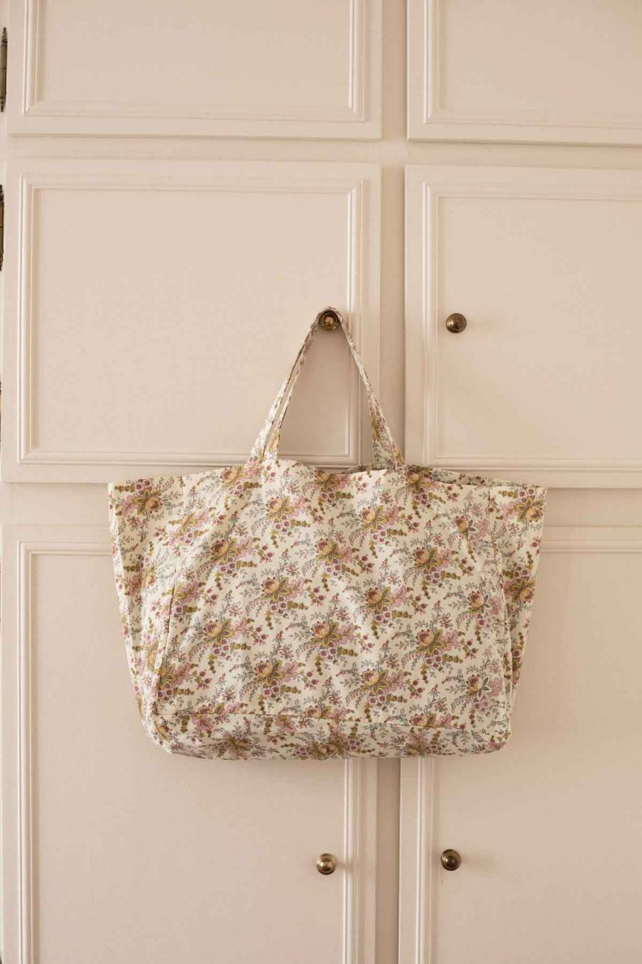 tote bag maison beverly cream french flowers - louise misha