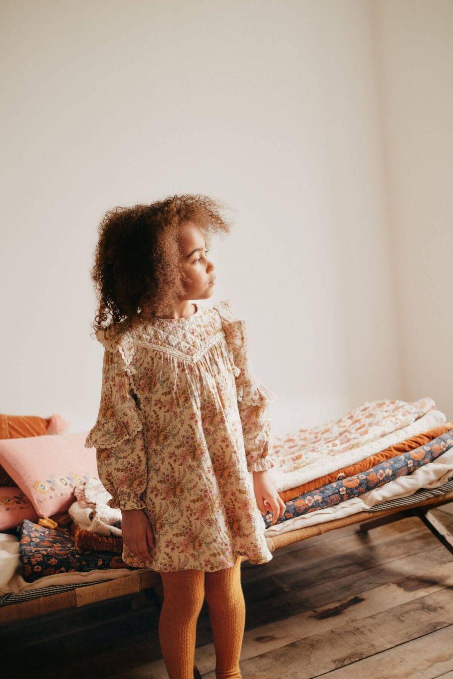 robe fille lara cream french flowers - louise misha