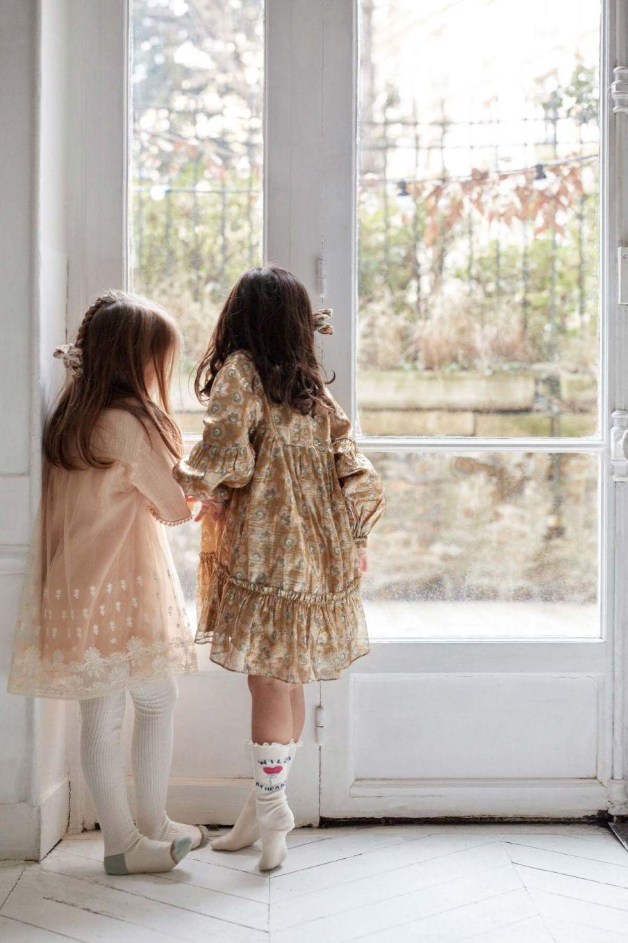 robe fille agatha saffron lurex flowers - louise misha