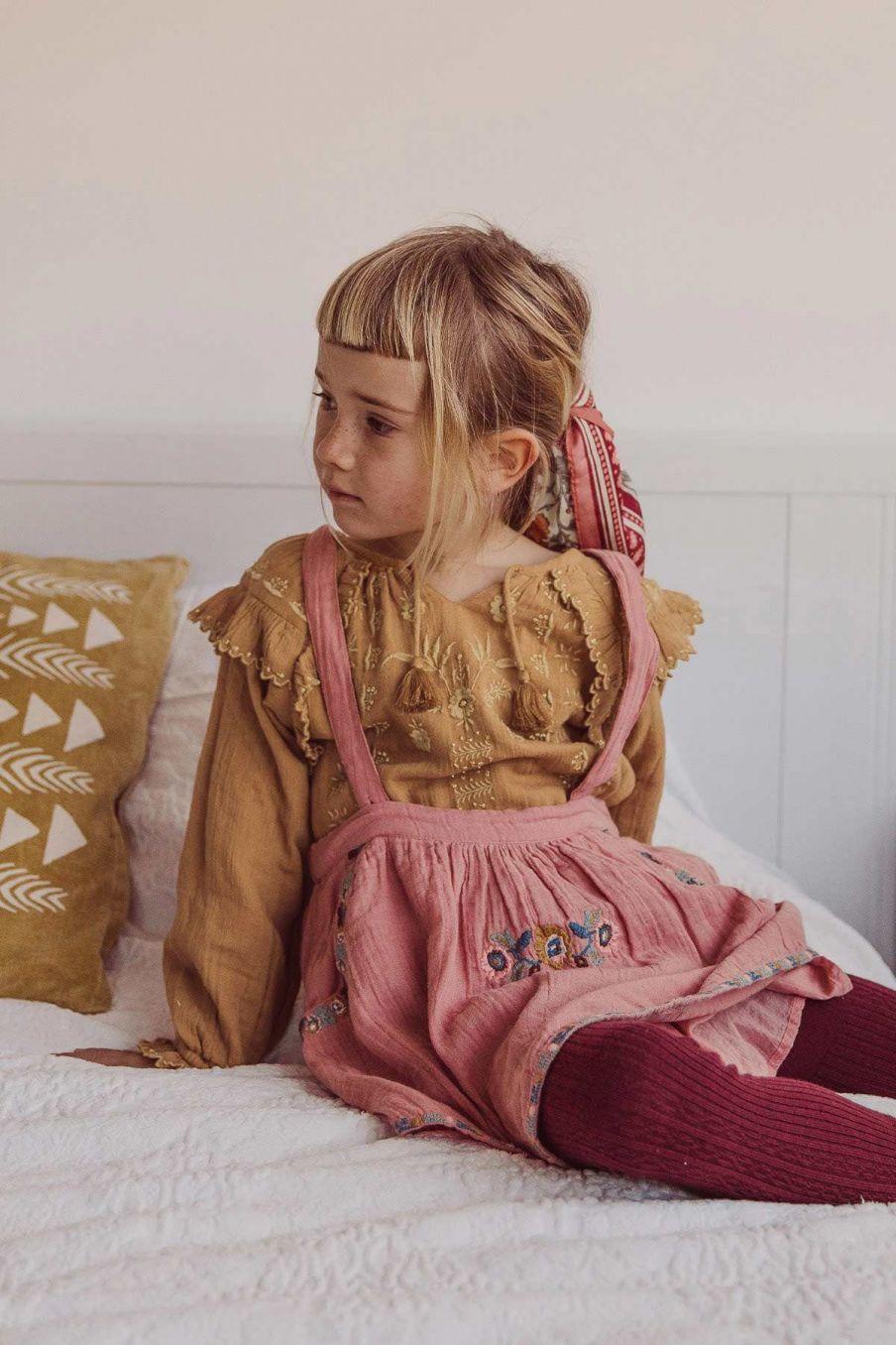 blouse fille iris caramel - louise misha
