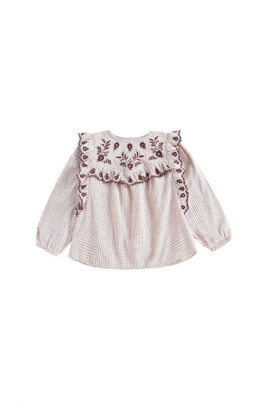 blouse fille abalone cream check - louise misha
