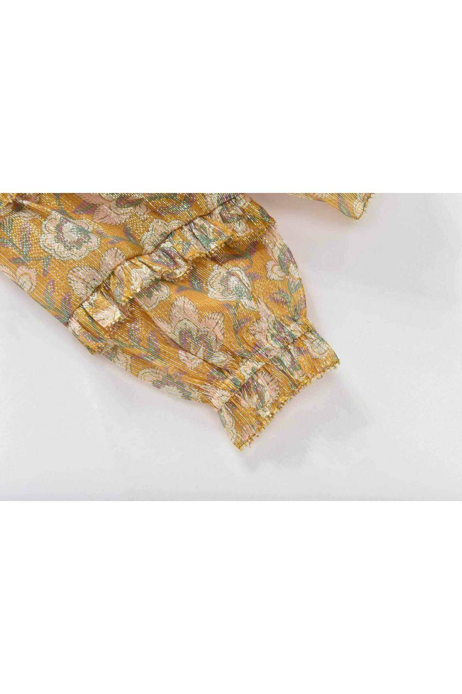 blouse fille biba saffron lurex flowers - louise misha