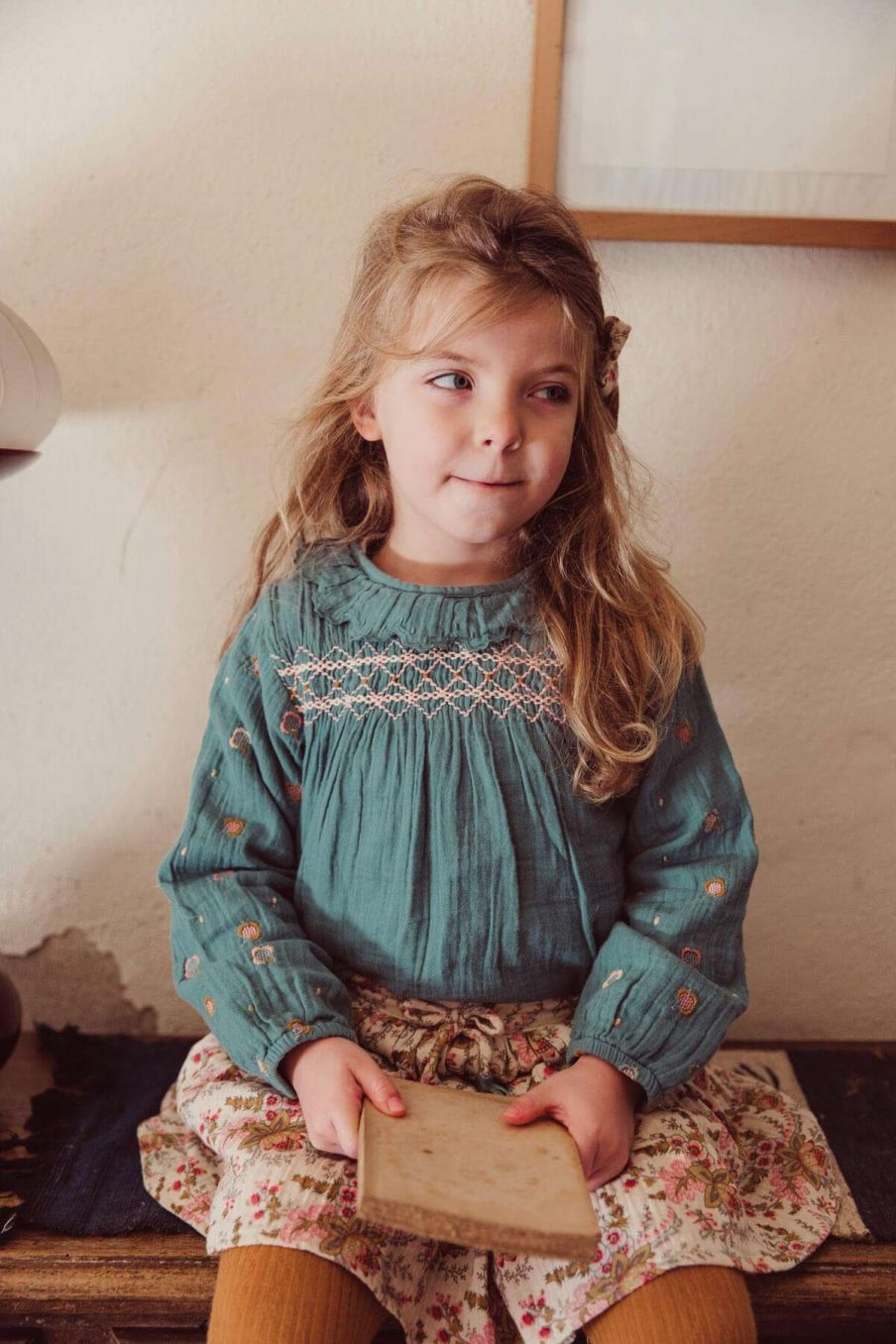 blouse fille daphne emerald - louise misha