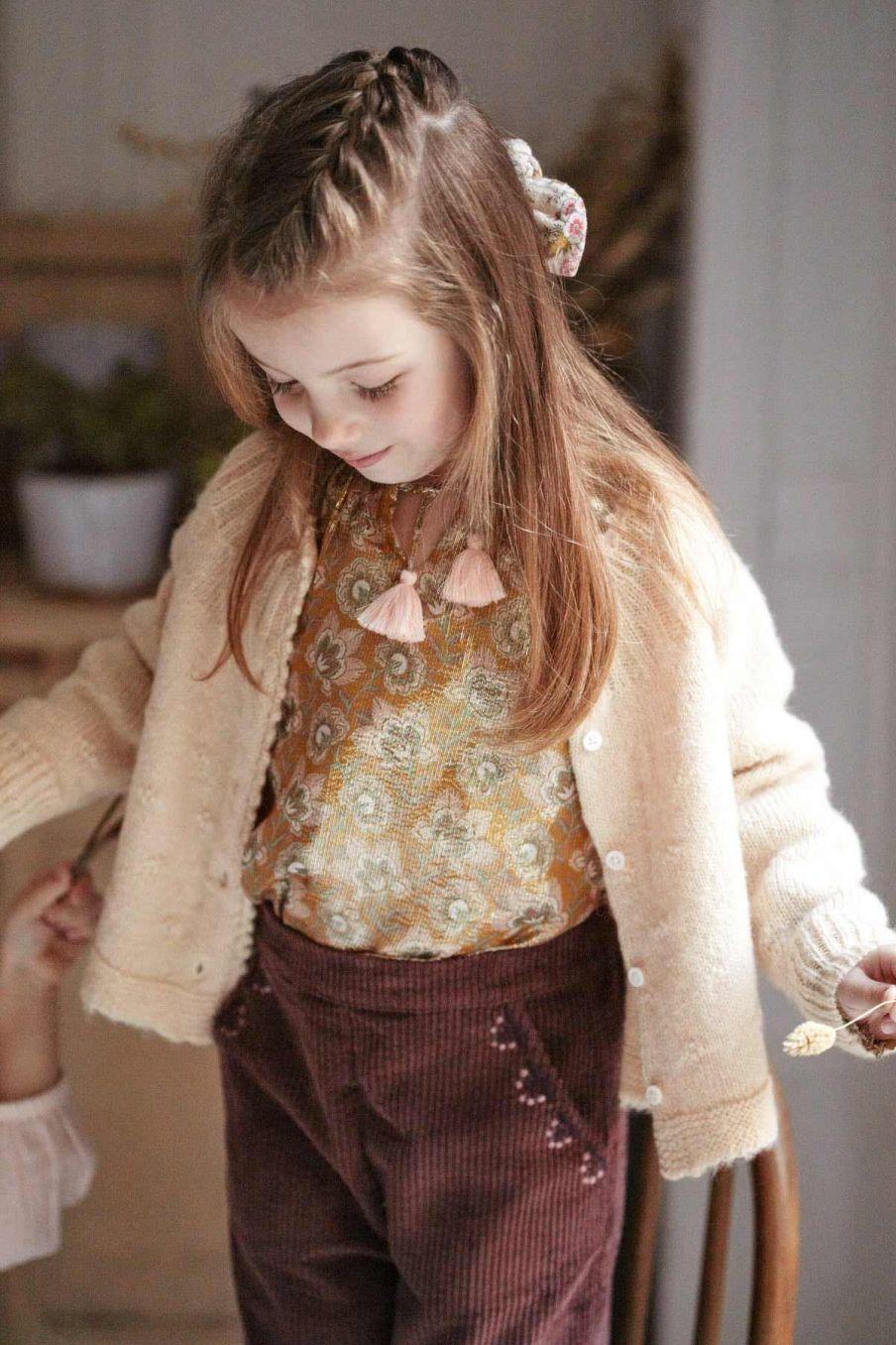 pantalon fille flor aubergine - louise misha