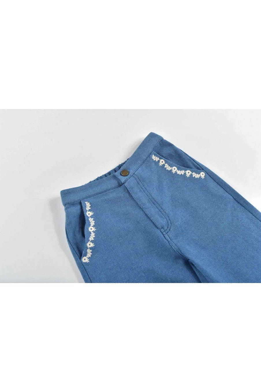 pantalon fille flor blue denim - louise misha