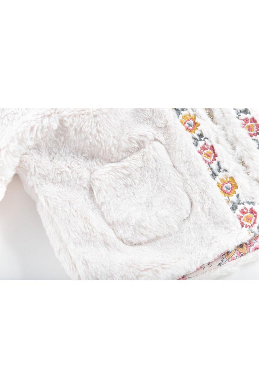 veste réversible fille felvet cream french flowers & fake fur - louise misha